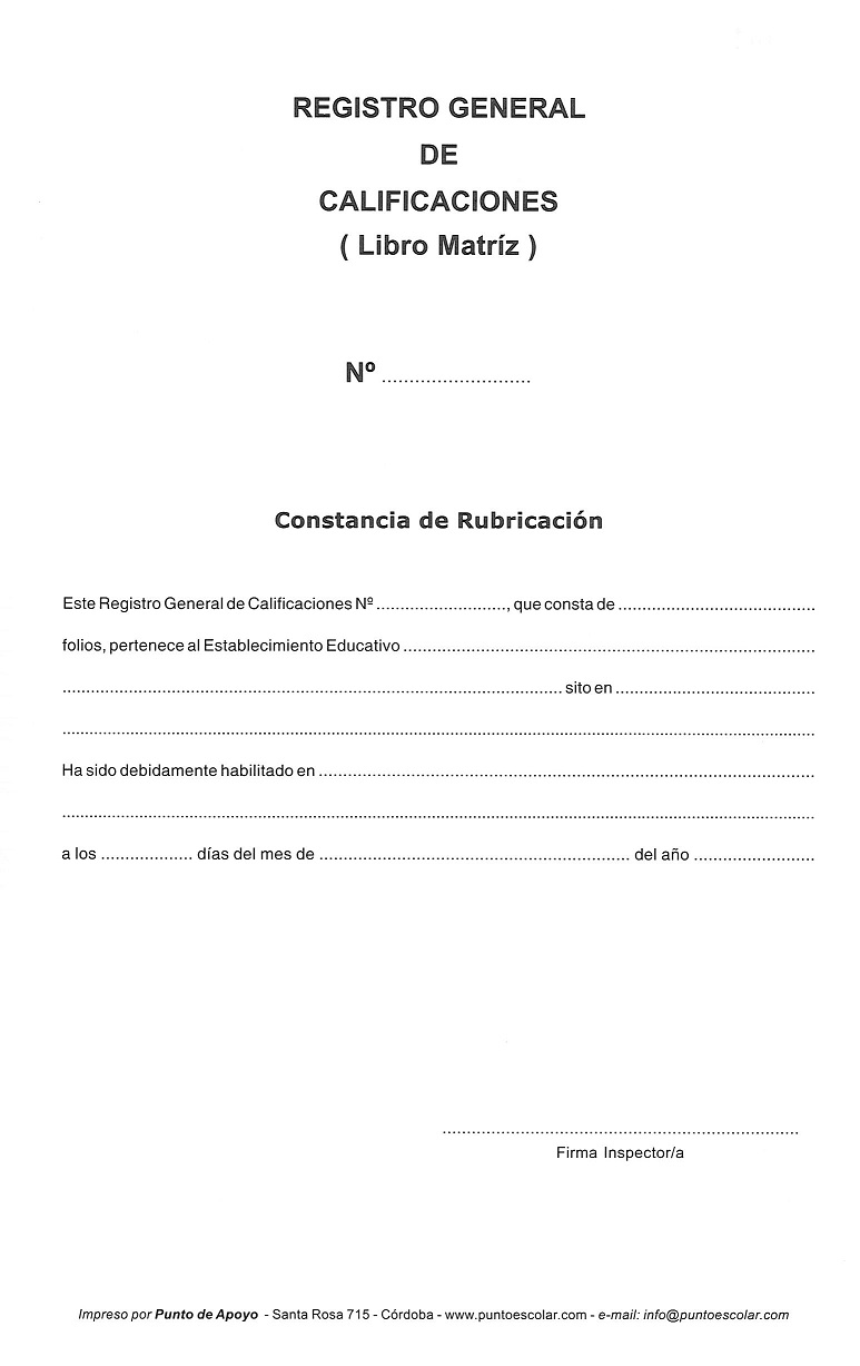 Registro General de Calificaciones Libro Matriz 6 años